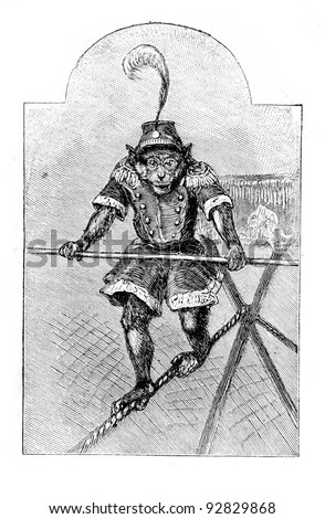 "Trained monkey. Engraving by Specht. Published in magazine ""Niva"", publishing house A.F. Marx, St. Petersburg, Russia, 1893 - stock photo"