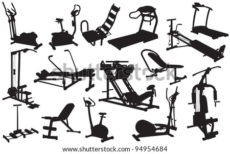 trainer silhouettes. Raster version. - stock photo