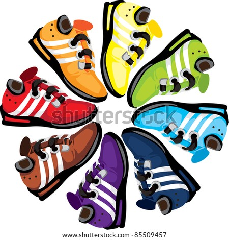 Trainers arranged in a rainbow wheel symbolizing unity from all walks of life. - stock photo