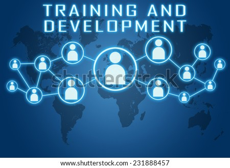 Training and Development concept on blue background with world map and social icons. - stock photo