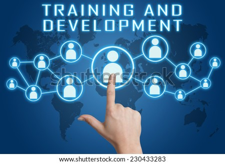 Training and Development concept with hand pressing social icons on blue world map background. - stock photo