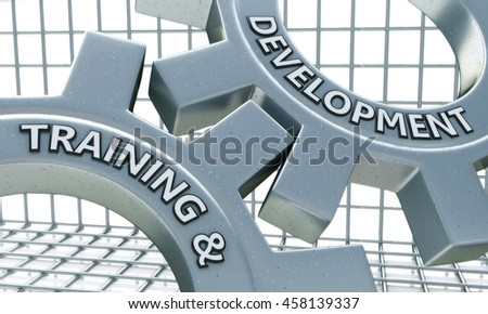 Training and Development on the Mechanism of Metal Gears. in the design of information related to business. 3d illustration - stock photo