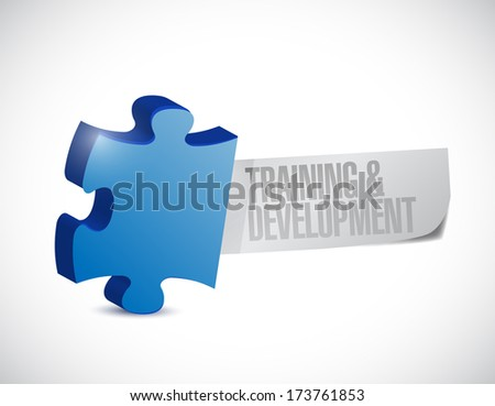training and development puzzle illustration design over a white background - stock photo