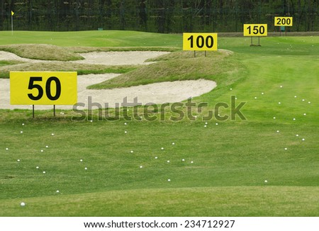training center in golf club. targets field  - stock photo