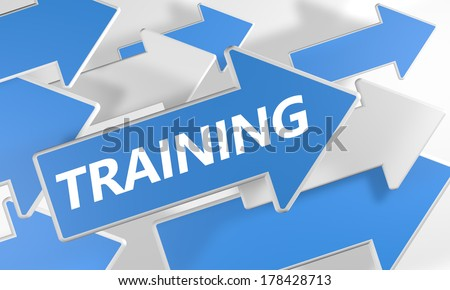 Training 3d render concept with blue and white arrows flying upwards over a white background. - stock photo