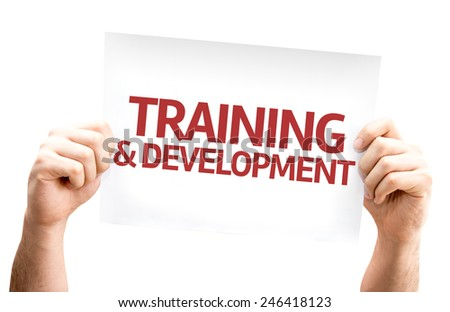 Training & Development card isolated on white background - stock photo