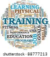 Training end education related words concept in tag cloud - stock photo