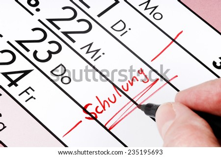 Training - entry to the calendar   - stock photo