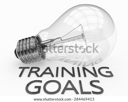 Training Goals - lightbulb on white background with text under it. 3d render illustration. - stock photo