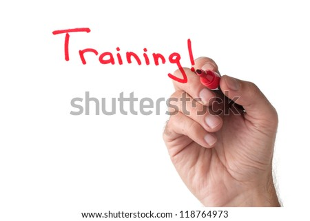 Training - hand writing on white board - stock photo