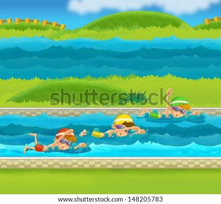 Training - illustration for the children - stock photo