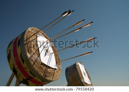 Training in archery on open air an excellent  way for a relaxation. - stock photo