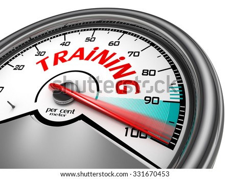 Training level to hundred per cent conceptual meter, isolated on white background - stock photo