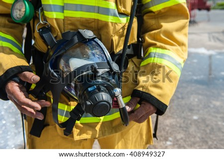 Training operational firefighter.   - stock photo
