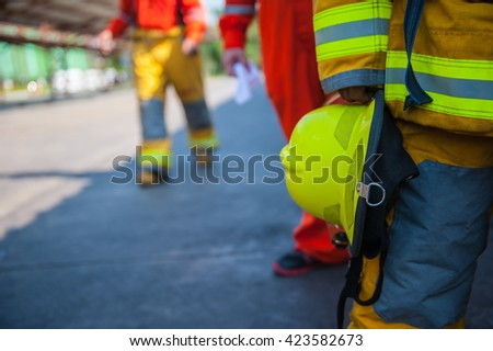 Training operational firefighter.  - stock photo