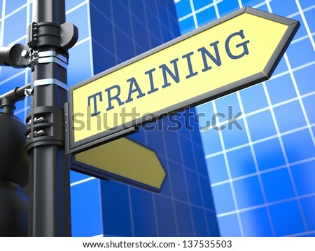 Training - Road Sign. Education Concept on Blue Background. - stock photo