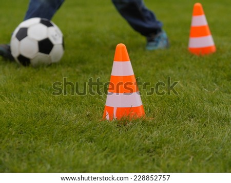 training soccer ball on a green field - stock photo