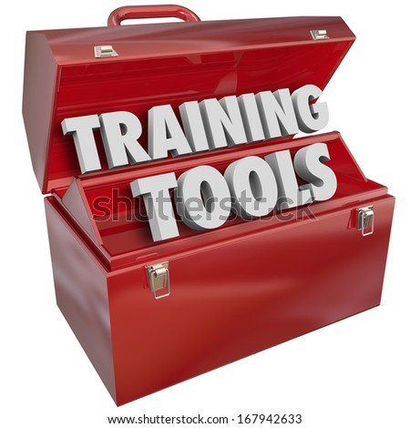 Training Tools Words Red Toolbox Learning Teaching - stock photo