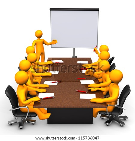 Training with orange cartoon characters. White background. - stock photo