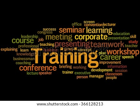 Training, word cloud concept on black background. - stock photo