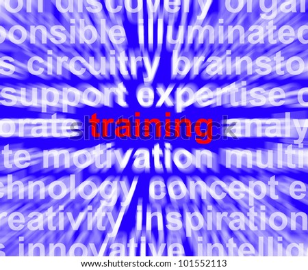 Training Word Shows Skills Learning From Seminar Or Instruction - stock photo