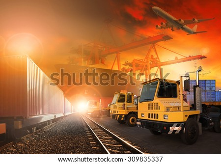 trains and truck of land logistic and ship in port cargo plane flying above use for all shipping and delivery logistic background - stock photo
