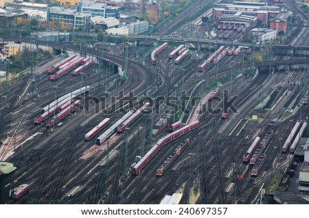 trains are arriving to the main station in frankfurt, germany. - stock photo