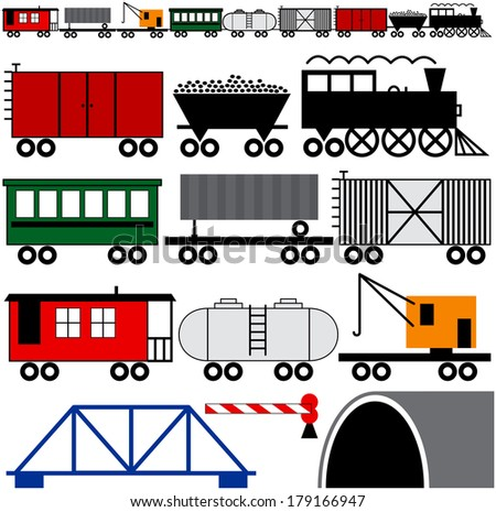 Trains cars and engine to make your own train - stock photo