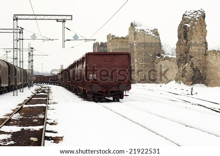 trains in freight yard winter Serbia - stock photo