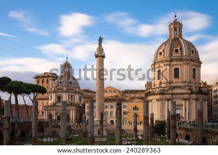 Trajan's forum - Long exposure version, Rome, Italy - stock photo