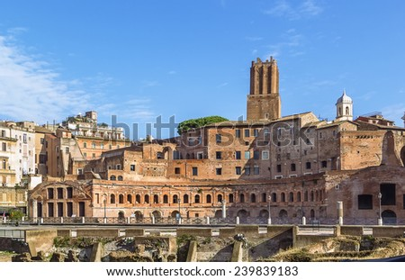 Trajan's Market is a large complex of ruins in the city of Rome, Italy, - stock photo