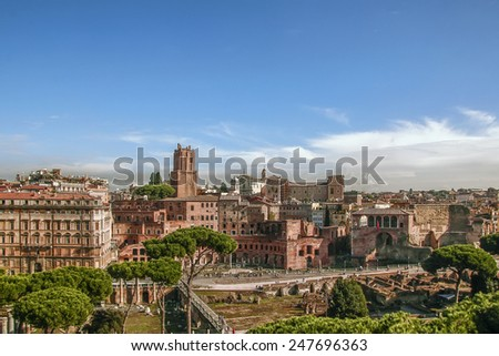 Trajan's Market is a large complex of ruins in the city of Rome, Italy - stock photo