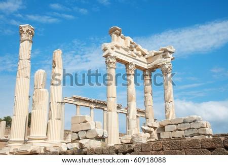 Trajan Temple columns in ancient city of Pergamon, Turkey - stock photo