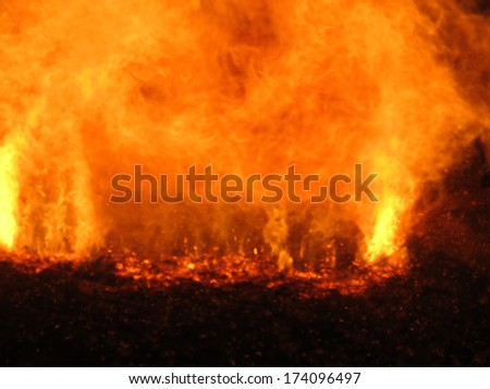 trajectories run sparks in the coal stoker boiler, as a background - stock photo