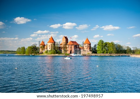 Trakai Castle - Island castle in Trakai is one of the most popular tourist destinations in Lithuania, houses a museum and a cultural centre. - stock photo