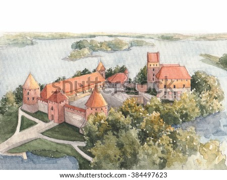Trakai Island Medieval castle, 14th century, Lithuania. Watercolor hand painted illustration.  - stock photo