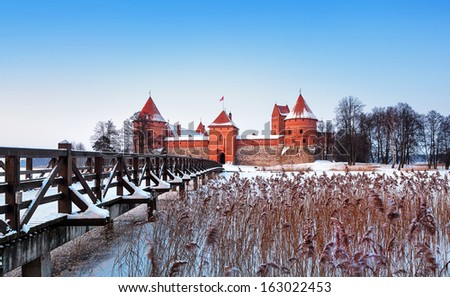 Trakai. Trakai is a historic city and lake resort in Lithuania. It lies 28 km west of Vilnius, the capital of Lithuania. - stock photo