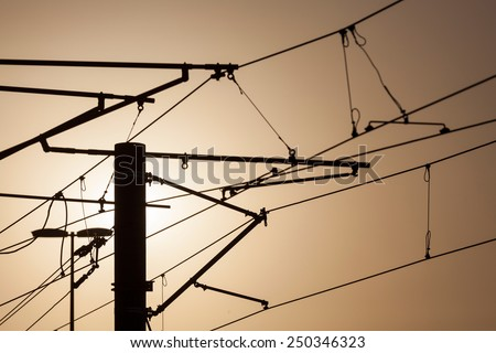 Tram electric wires - stock photo
