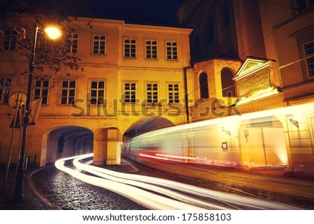 Tram in historical part of Prague, Czech Republic - stock photo