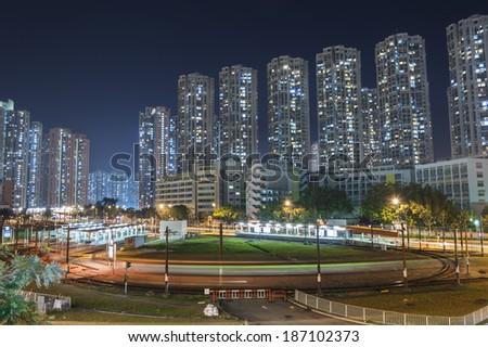 Tram terminal in Hong Kong - stock photo