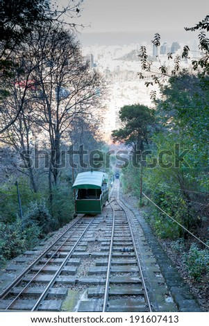 Tram to the top of hill, San Cristobal hill, Santiago, Chile - stock photo