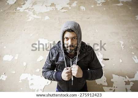 Tramp and poor man squat, depression - stock photo