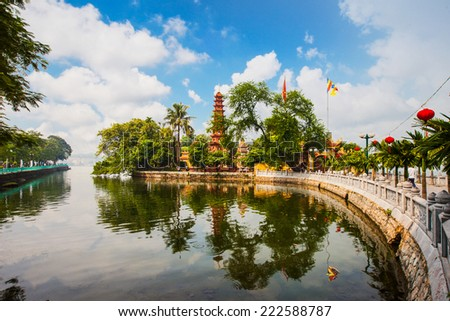 Tran Quoc pagoda in the morning in Hanoi, Vietnam - stock photo