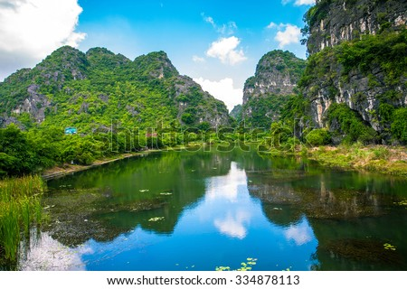 Trang An, Tam Coc, Ninh Binh, Viet nam. It's  is UNESCO World Heritage Site, renowned for its boat cave tours. It's Halong Bay on land of Vietnam - stock photo