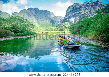 TRANGAN ECO-TOURIST COMPLEX, VIETNAM - NOVEMBER 27, 2014 - Nice view of landscape inside the Complex. This is a UNESCO site and very famous for its beauty of caves, temples & natural beauty. - stock photo