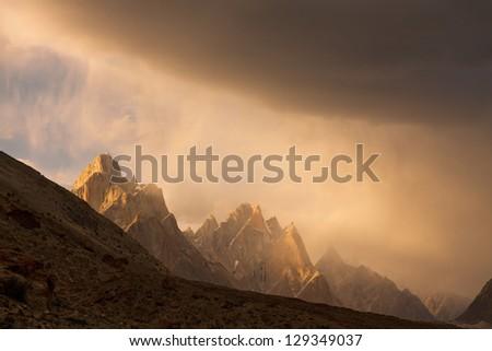 Trango Towers at Sunset, Karakorum, Pakistan - stock photo