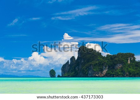 Tranquil Bay Lagoon Mountains  - stock photo
