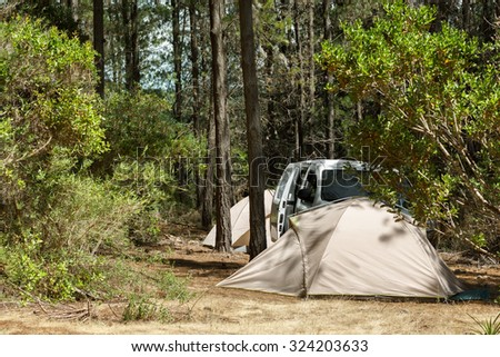 Tranquil camping on idyllic forest campsite - stock photo
