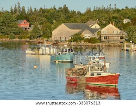 Tranquil fishing village in Maine near Acadia National Park - stock photo