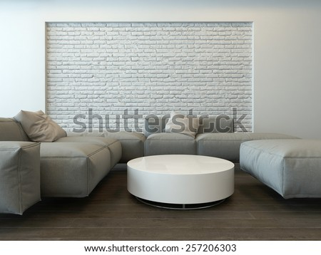Tranquil modern grey living room interior with comfortable corner couches, a round white table and textured feature brick wall. 3d Rendering. - stock photo